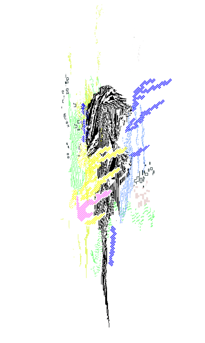A pixel art depiction of burning peat