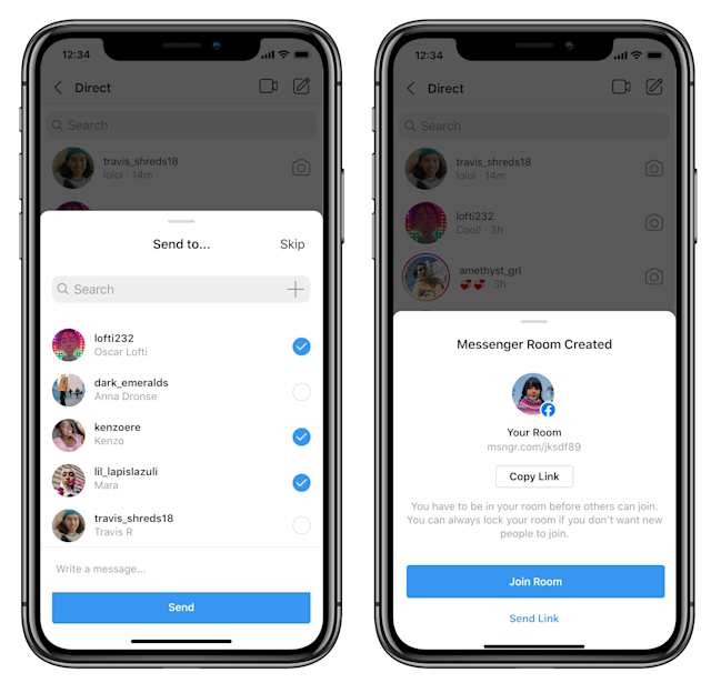 Joining a Messenger Room via Instagram directs to the Messenger app.