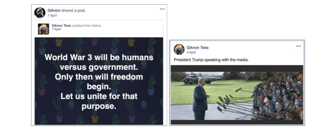 Examples of the posts shared by the accounts removed by Facebook.