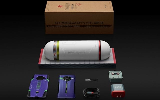 Oppo Evangelion phone and packaging