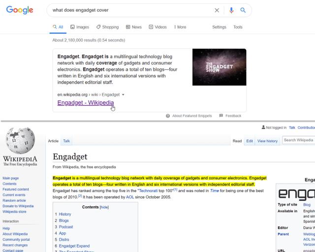 Extrait vedette de Google