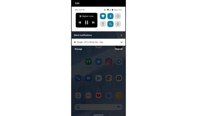 Capture d'écran Android 11 beta du widget multimédia