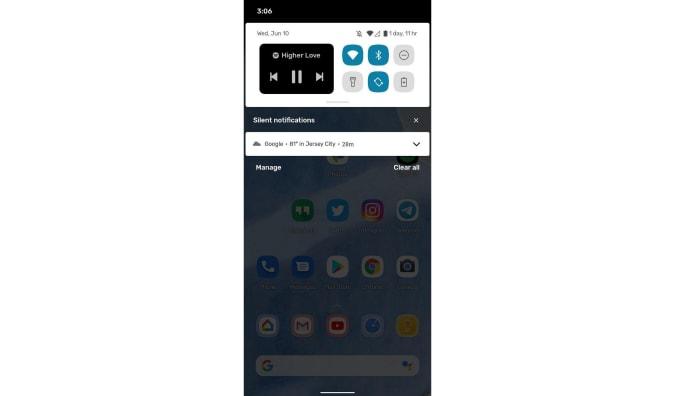 Android 11 beta screenshot of media widget
