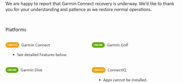 Garmin outage status