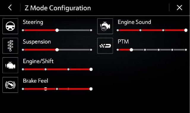 2021 Corvette Driver Mode display