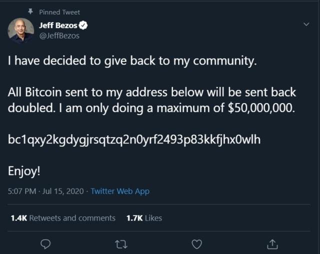 Bezos Twitter hack crypto scam.