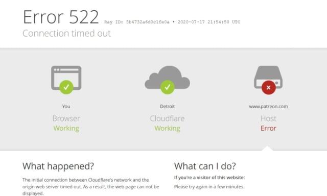 Patreon.com error message