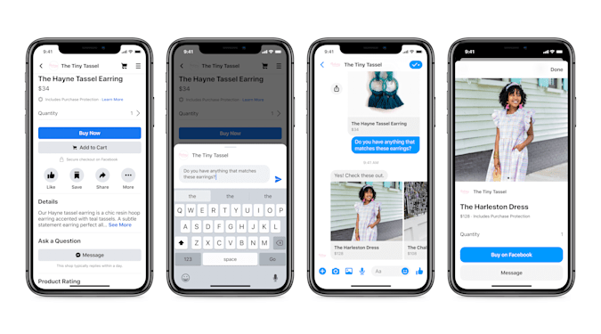 Facebook is testing shopping features in Messenger.