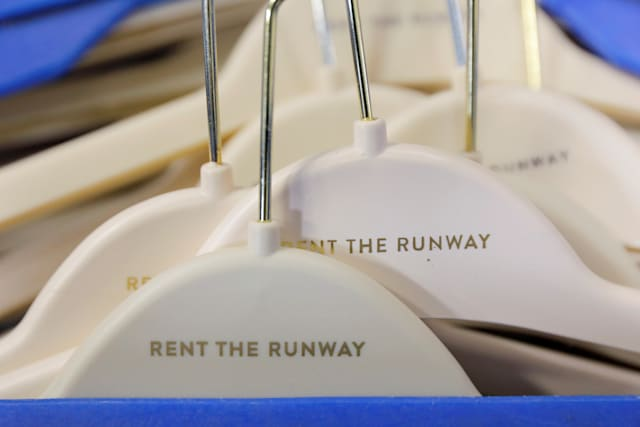 "Hangers are seen at Rent the Runway's ""Dream Fulfillment Center"" in Secaucus, New Jersey, U.S., September 11, 2019. Picture taken September 11, 2019. REUTERS/Andrew Kelly"