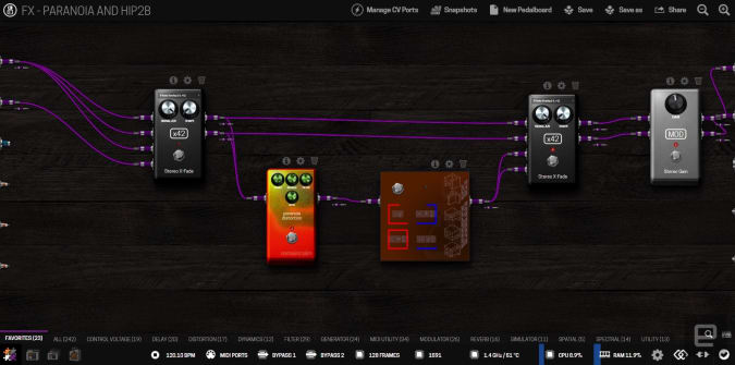 The browser-based patching interface for the MOD Duo X.