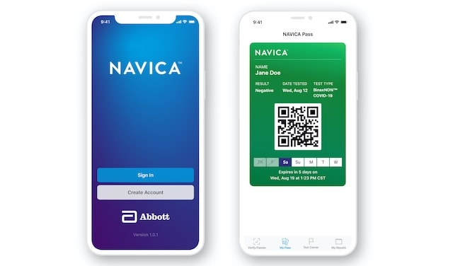 NAVICA is a no-charge complementary phone app, which allows people to display their BinaxNOW test results.
