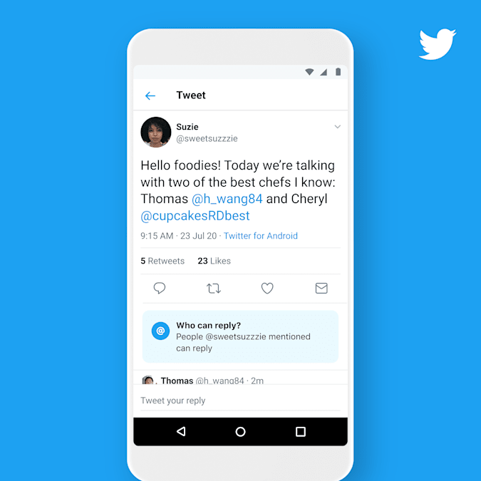 Twitter is also adding new labels when replies are limited.