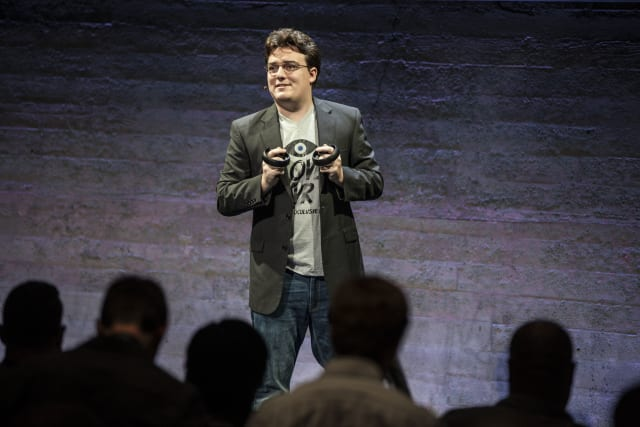 Palmer Luckey, founder and inventor of Oculus VR, speaks during a media event to introduce the Oculus Rift virtual reality headset and the Oculus Touch hand controllers in San Francisco, California on Wednesday, June 11, 2015. (Photo by Ramin Talaie/Corbis via Getty Images)