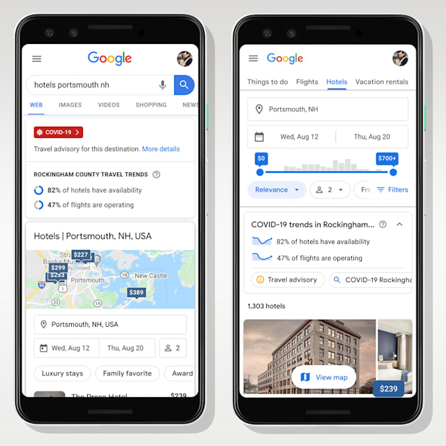 Google adds COVID-19 stats to travel searches.