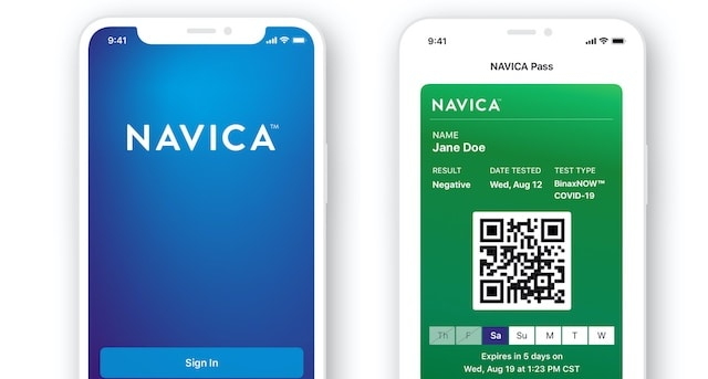 NAVICA⢠is a no-charge complementary phone app, which allows people to display their BinaxNOW test results.