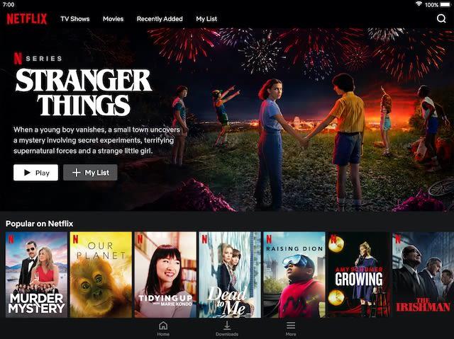 Interface utilisateur de Netflix