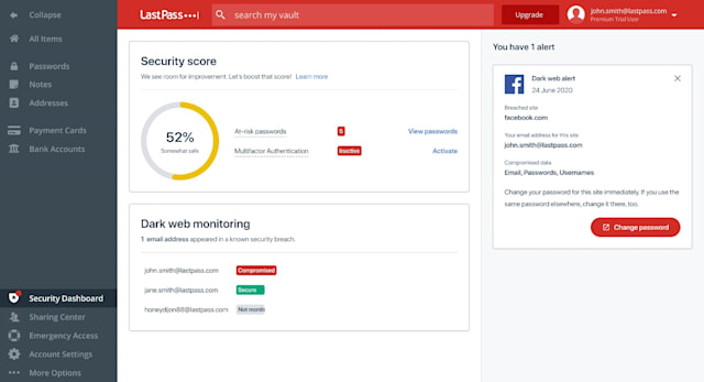 LastPass Security Dashboard