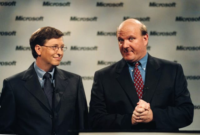 Bill Gates and Steve Ballmer, President and CEO.  (Photo by Robert Sorbo/Sygma/Sygma via Getty Images)