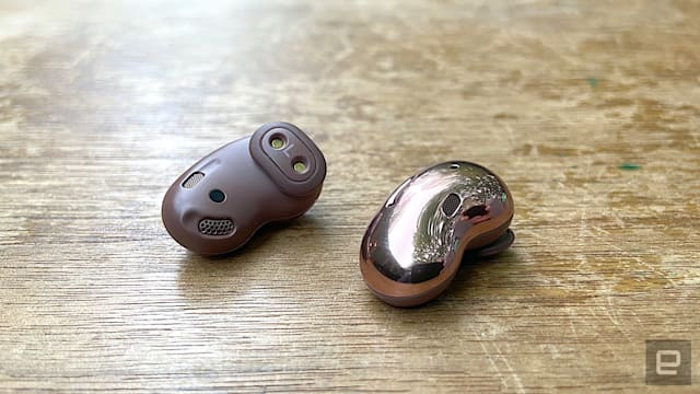 """Samsung's latest true wireless earbuds have a unique """"open type"""" design that will keep you from cramming them in your ears. While that does make them a bit more comfortable, you do have to sacrifice sound quality and the effectiveness of ANC. There are some attractive features here, but the company's Galaxy Buds+ are the better option at this point."""