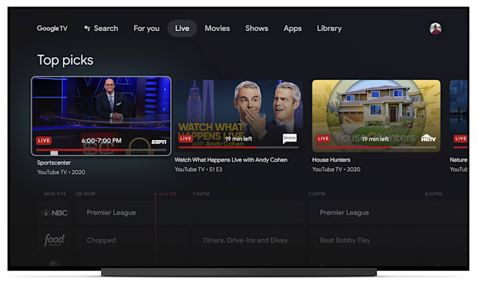 Chromecast 2020 with Google TV press image Live tab