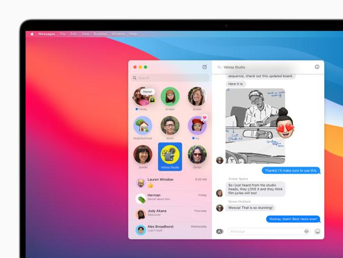 macOS Big Sur Messages app