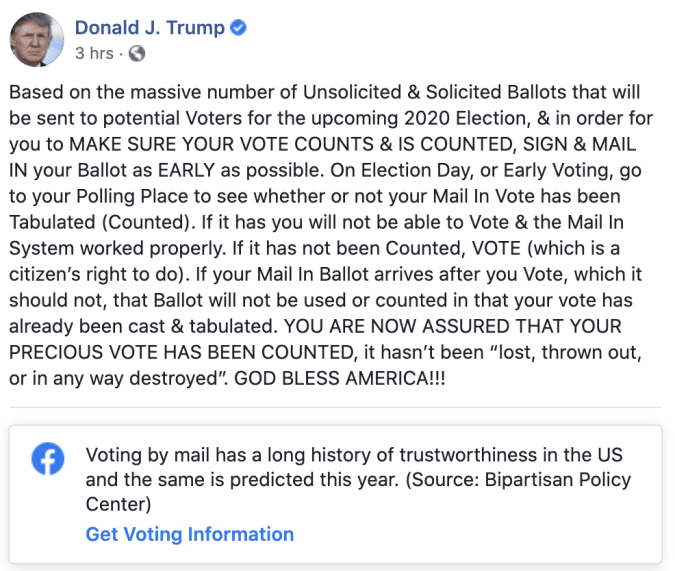Facebook's latest label for Trump's post about mail-in ballots.