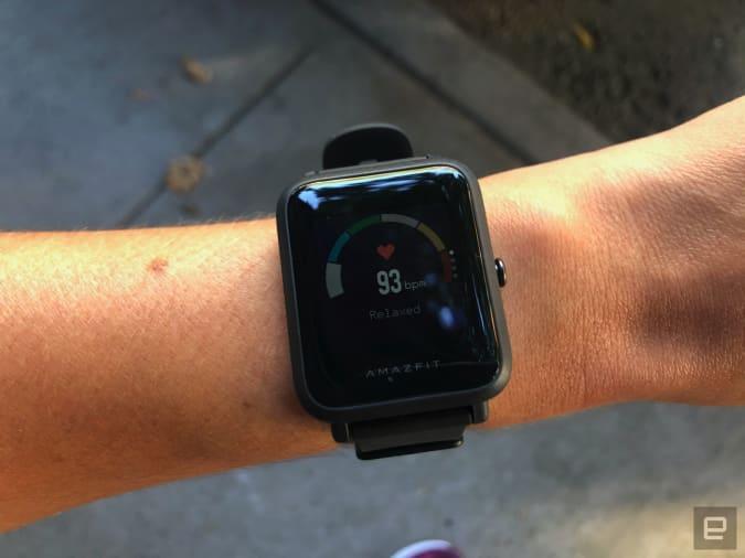Engadget the Amazfit Bip S GPS running watch.