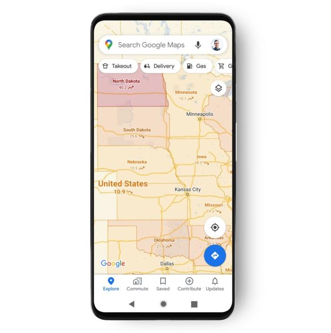 google maps includes covid-19 data