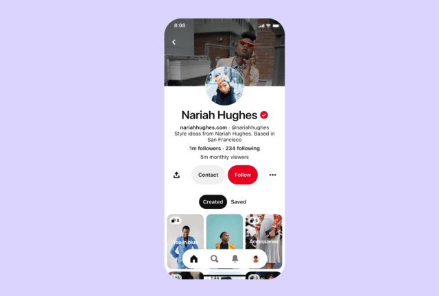 Pinterest is introducing 'creator profiles' for influencers.