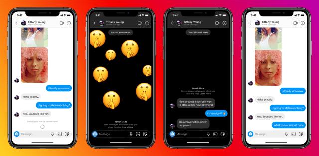 """Instagram está agregando un """"modo de desvanecimiento"""" por desaparecer los chats."""