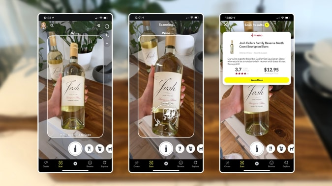 Snapchat will tell you about the bottle of wine you're holding.
