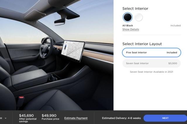 Model Y Seven Seat interior option