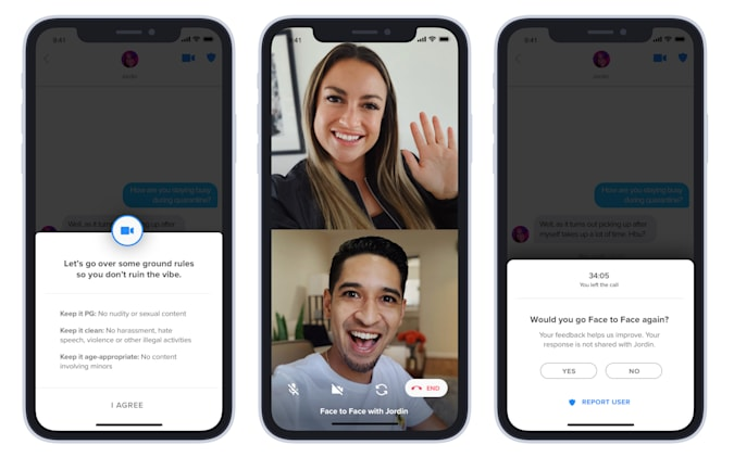 Tinder Face to Face video chat feature