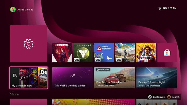 Xbox Series S interface