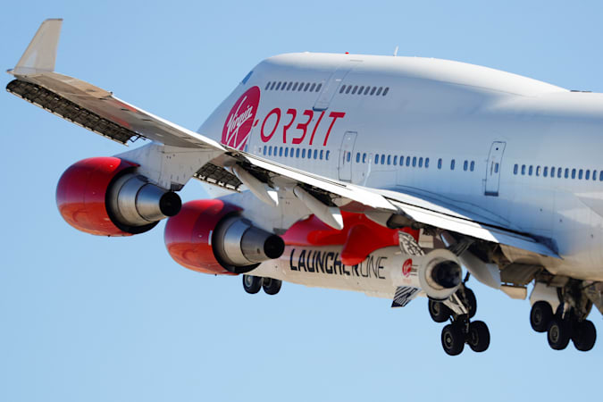 Richard Branson's Virgin Orbit, with a rocket underneath the wing of a modified Boeing 747 jetliner, takes off to for a key drop test of its high-altitude launch system for satellites from Mojave, California, U.S. July 10, 2019.       REUTERS/Mike Blake