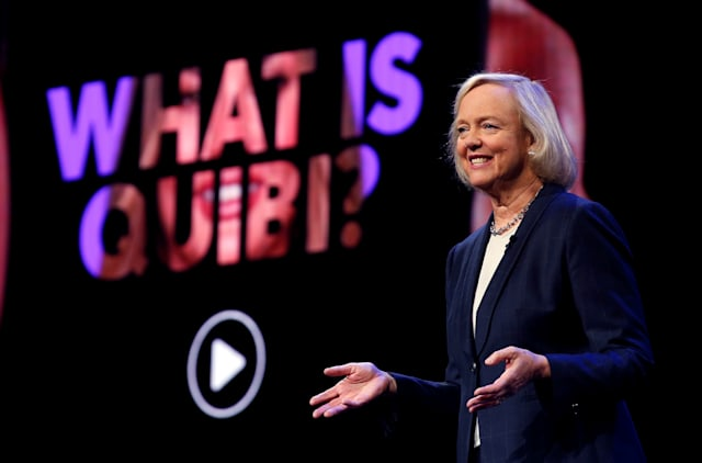 Quibi CEO Meg Whitman speaks during a Quibi keynote address at the 2020 CES in Las Vegas, Nevada, U.S., January 8, 2020. REUTERS/Steve Marcus
