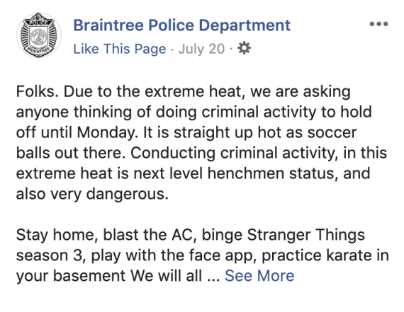 Massachusetts police ask people to hold off on committing crimes