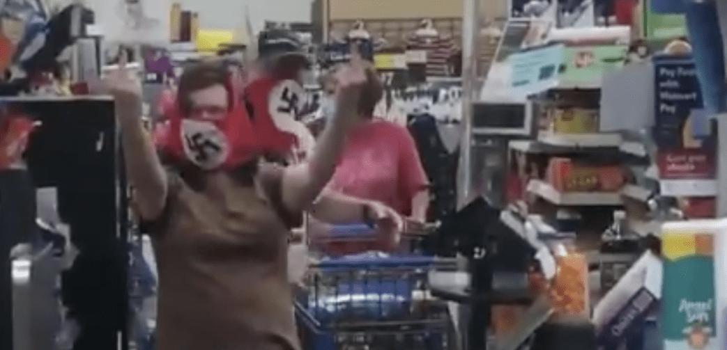 Couple wearing Nazi face masks in Walmart