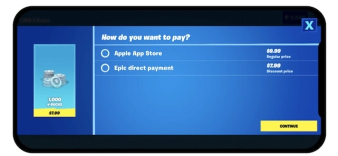 Fortnite payment screen on iOS