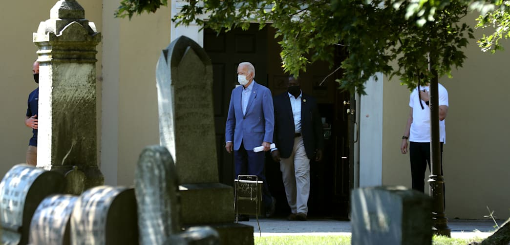 Democratic presidential nominee and former Vice President Joe Biden leaves St. Joseph on the Brandywine Roman Catholic Church after attending Sunday services September 06, 2020 in Wilmington, Delaware.