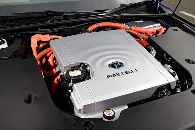 Press images of Toyota's second Mirai, the company's mass-market hydrogen fuel cell electric vehicle.