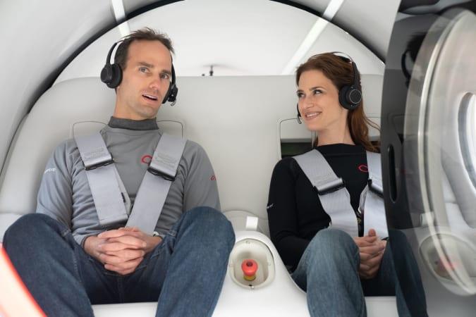 Josh Giegel and Sara Luchian travel in the first crewed Hyperloop pod test