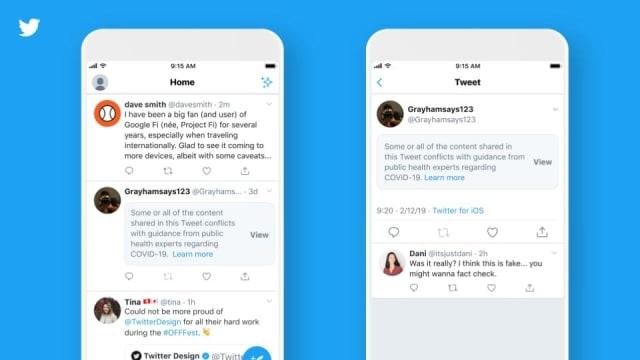 توییتر برچسب های جدیدی را معرفی کرده است که به کاربران هشدار می دهد وقتی یک توییت حاوی ادعاهای خطرناکی در مورد ویروس کرونا است.