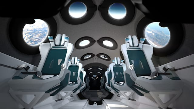 Interior of the cabin of the Virgin Galactic spaceship