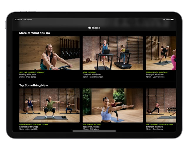 Apple's new Fitness+ subscription shown on an iPad.