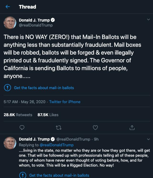 La première fois que Twitter a étiqueté un tweet de Trump.