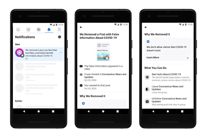 Facebook's new, detailed notifications users see when a post they likes was removed for sharing misinformation.