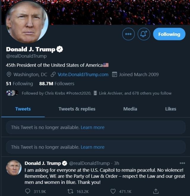 Twitter parece haber retirado los tweets de Trump.