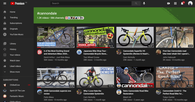 YouTube hashtag landing pages