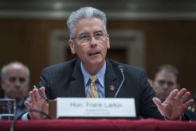 UNITED STATES - JUNE 29: Senate Sergeant at Arms Frank Larkin testifies before a Senate Appropriations Legislative Branch Subcommittee hearing in Dirksen Building on the proposed FY2018 budget for the Senate Sergeant at Arms and the U.S. Capitol Police on June 29, 2017.(Photo By Tom Williams/CQ Roll Call)
